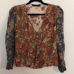 Zara sheer mix pattern blouse